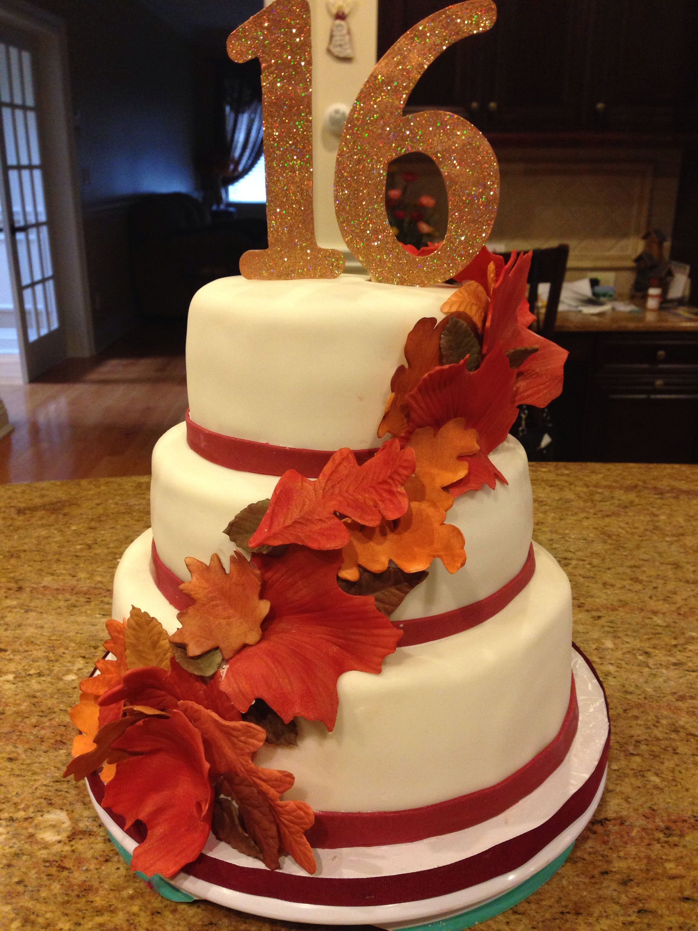 autumn themed wedding cake toppers fall themed sweet 16 cake handmade gumpaste leaves and 10898