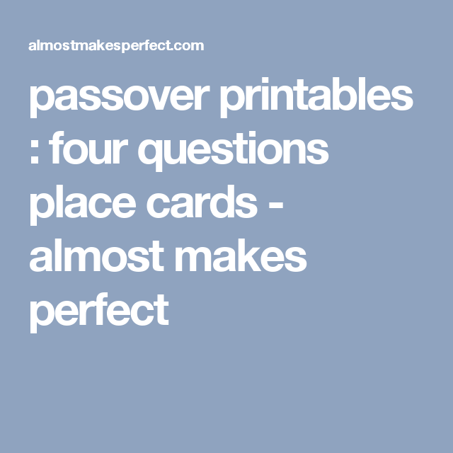 This is an image of Resource 4 Questions Passover Printable