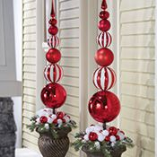 Red & White Christmas Ornament Ball Finial Topiary | White christmas ornaments, Christmas ...