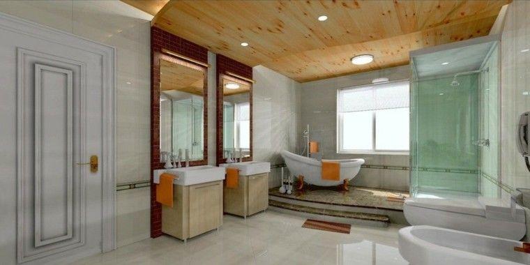 Ba o con falso techo de madera caba a pinterest - Falsos techos para banos ...
