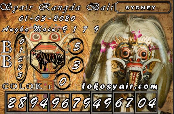 Syair Rangda Bali Sydney 01 Maret 2020 Sydney Permainan Kartu Permainan Angka