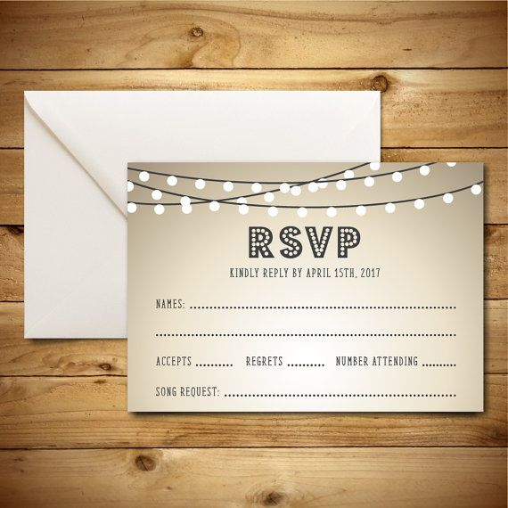 Printable Wedding RSVP   Response Card Template - Brown, Grey - microsoft word postcard template