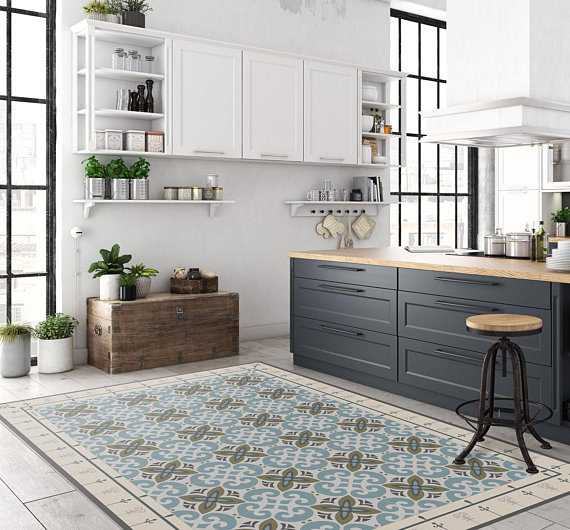Astonishing Moroccan Tiles Floor Mat Pvc Kitchen Rug Linoleum Area Rug Download Free Architecture Designs Sospemadebymaigaardcom