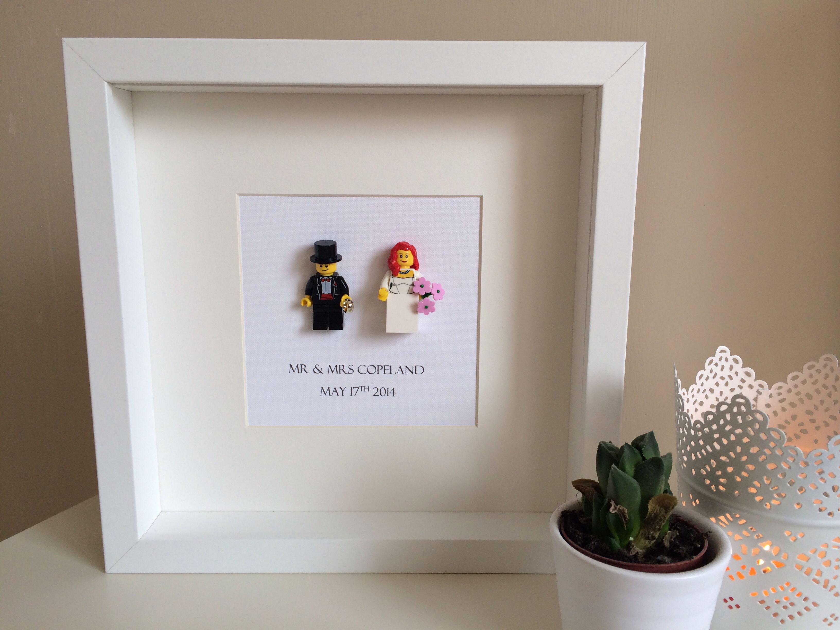 Lego Wedding Mr Mrs Frame Bride Groom Wedding Marriage Love