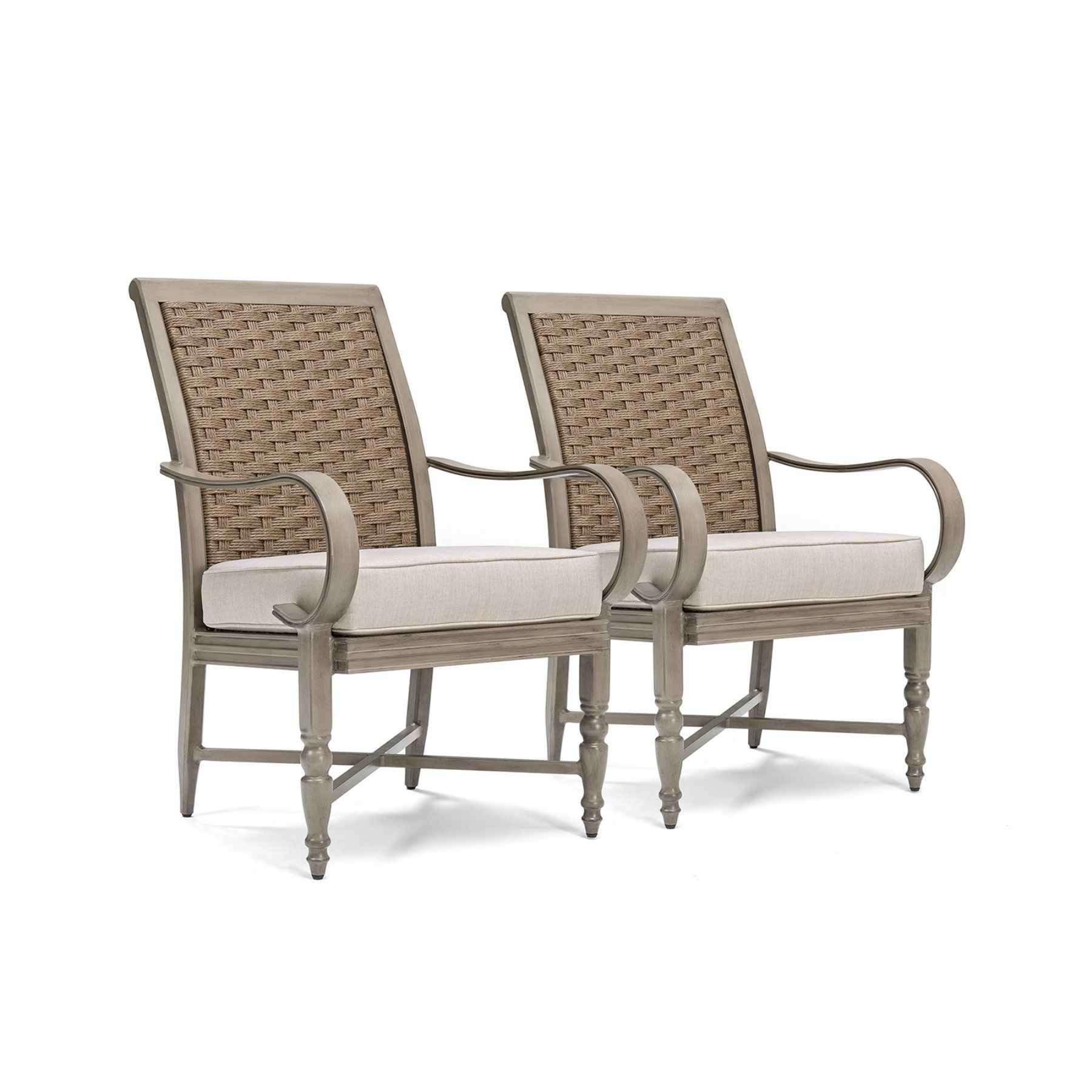 Blue Oak Saylor Wicker Outdoor Dining Arm Chair With Outdura Remy Sand Cushion Set Of 2 Wicker Dining Chairs Dining Arm Chair Oak Dining Chairs