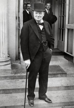 Winston Churchill With Cane One Of The Greatest War Heros Led