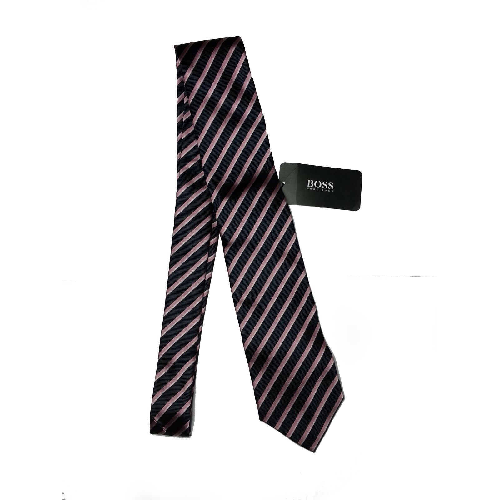 #ebay men cloth Hugo Boss Men silk Dress tie Black Purple Stripes 7.5 cm  MSPR