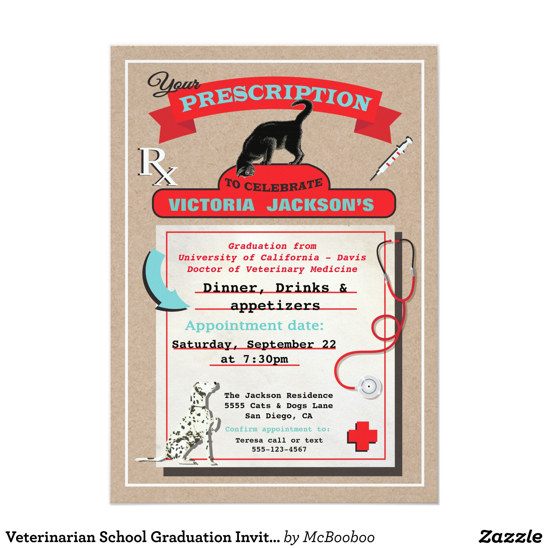 Veterinarian School Graduation Invitation | Graduation | Pinterest ...