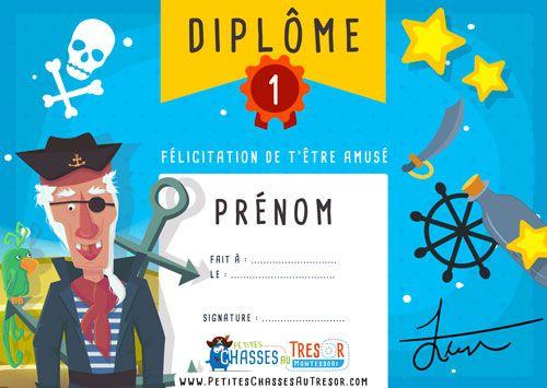 Chasse Au Trésor Pirate Diplôme à Imprimer Gratuitement