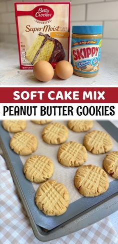 Oh my goodness! If you like peanut butter, you're going to fall in love with this quick and easy peanut butter cookie recipe! The yellow boxed cake mix makes them so soft and chewy, plus they are made with other ingredients that you probably already have at home. These are a great last minute dessert idea when you're craving a sweet treat! Simple enough for kids to make. Enjoy warm with a tall glass of cold milk. So yummy! This recipe makes about 15 cookies, perfect for a family with leftovers.