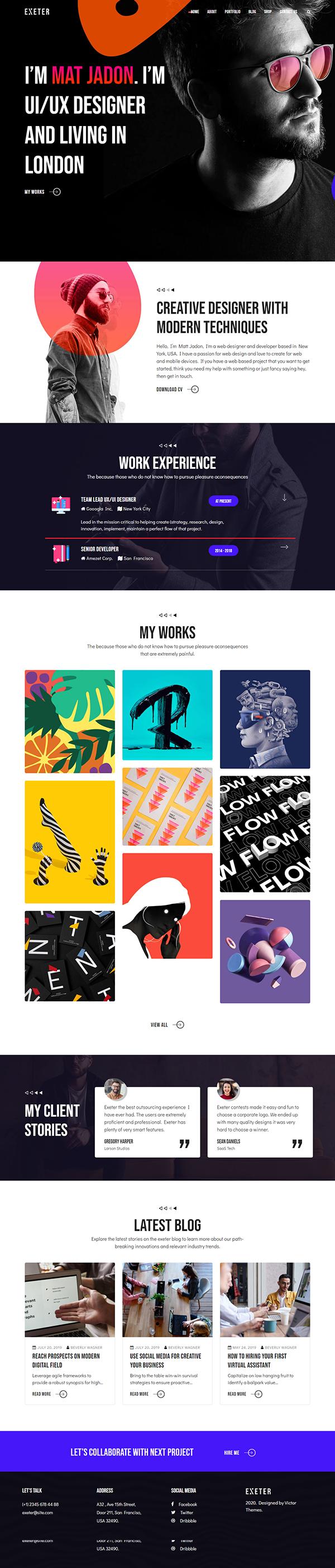 Exeter Personal Portfolio Wordpress Theme In 2020 Creative Wordpress Themes Wordpress Theme Top Wordpress Themes