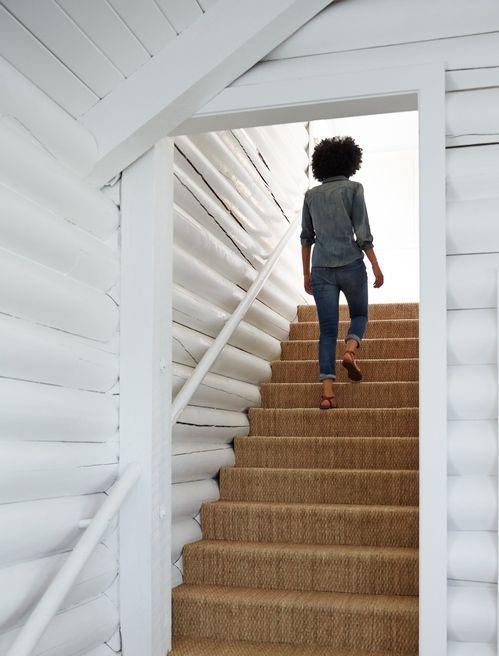 Sisal Girl Walking Up Stairs Trinette Reed Cropped
