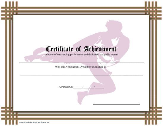 This brown bordered certificate recognizes skill in karate for Karate certificates templates free