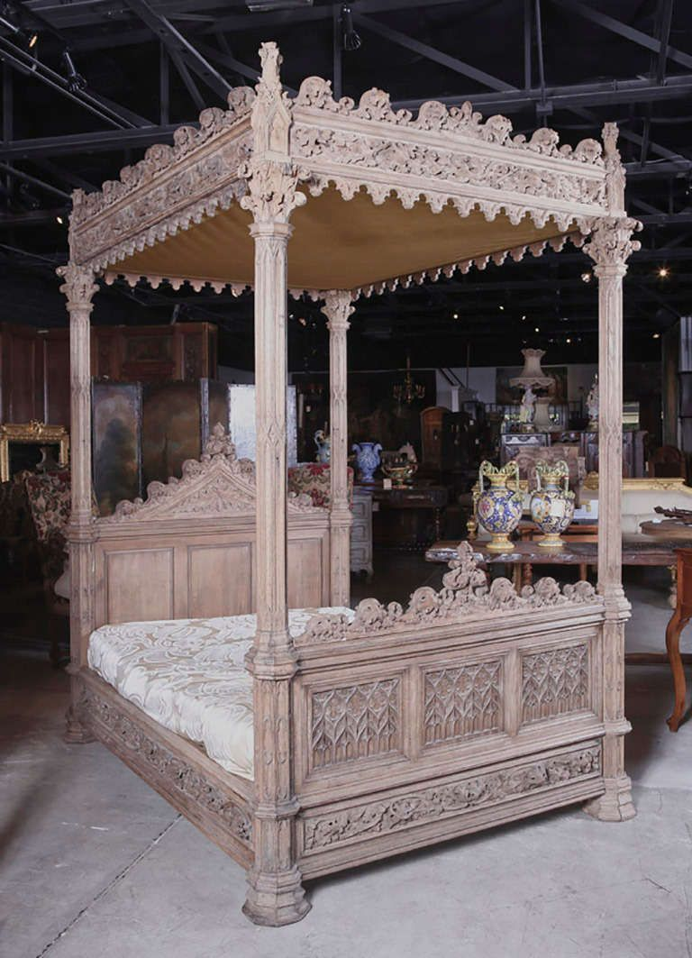 A Magnificent Fully Carved Antique French Gothic Bed-Stripped Oak ...