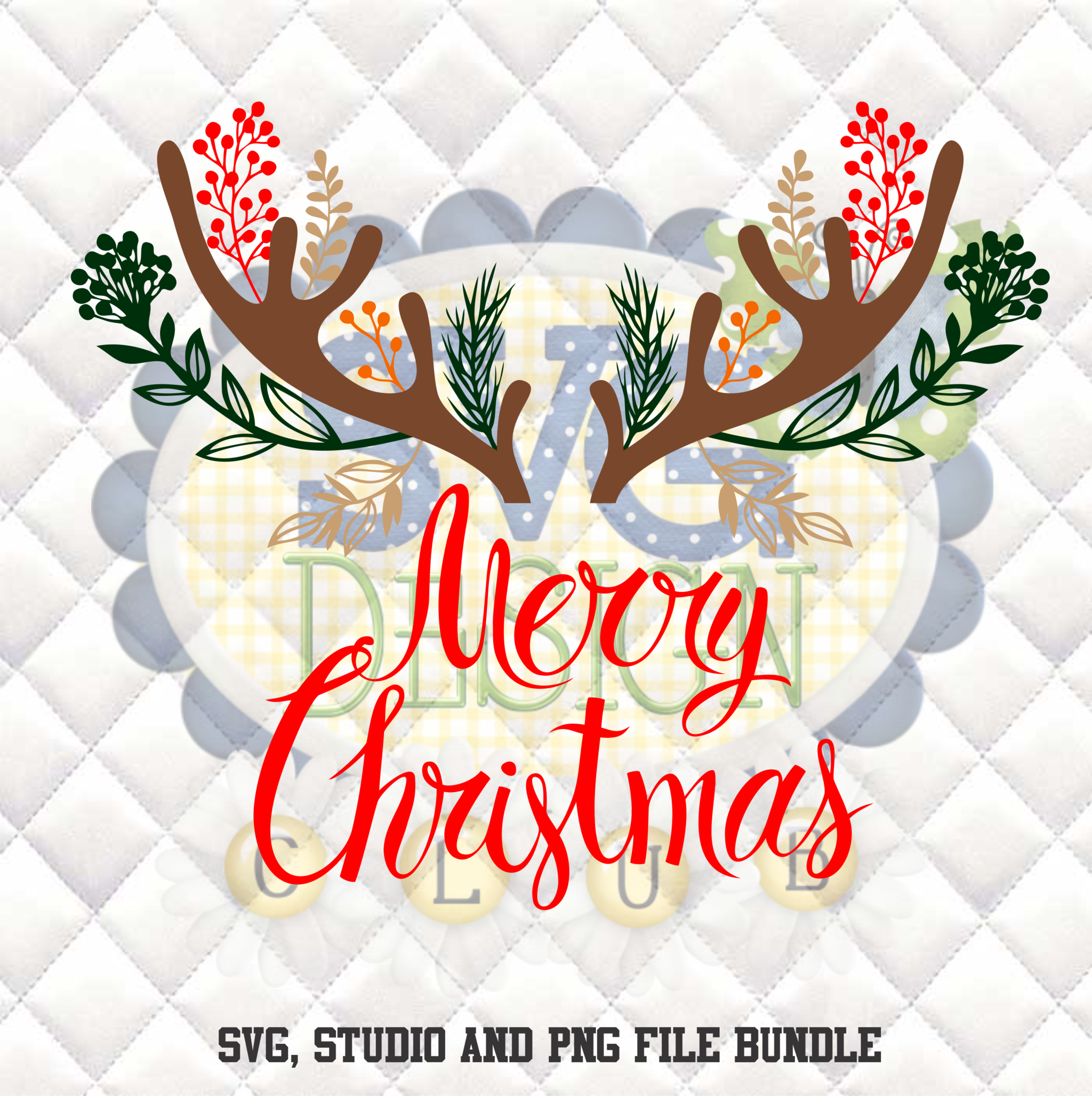 Free Christmas Antlers Silhouette studio bundle design