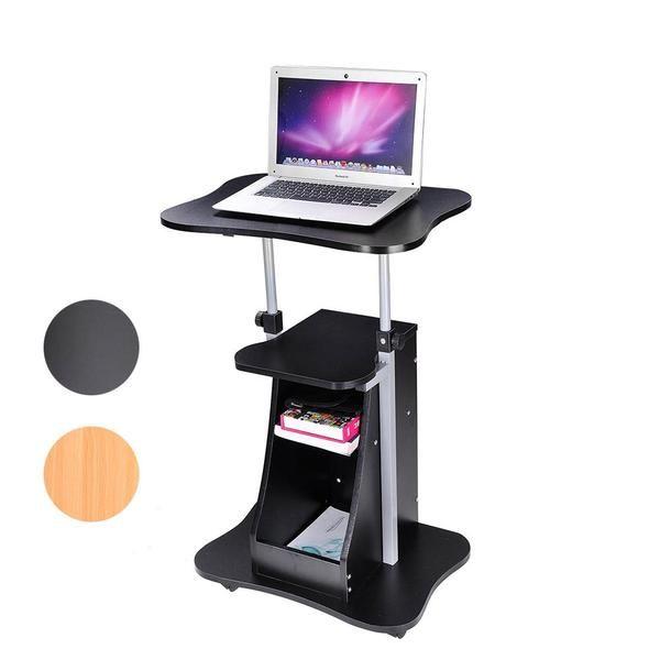 Rolling Laptop Desk Cart Adjustable Height W Storage Color Opt Laptop Desk Adjustable Computer Desk Laptop Desk For Bed