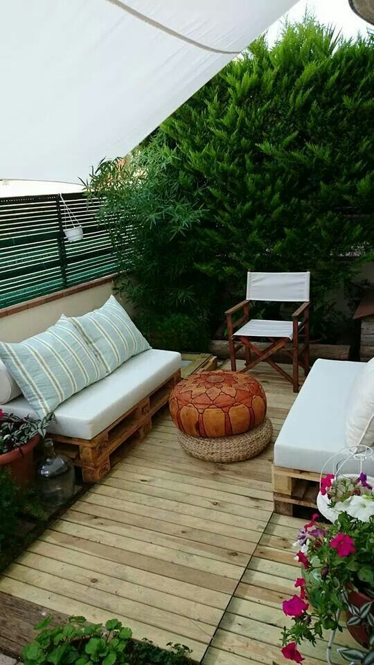 muebles con palets cojines exterior