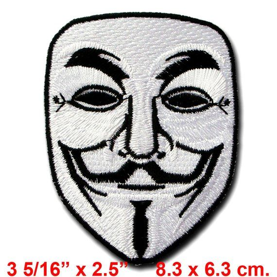ANONYMOUS v for VENDETTA  Iron On Sew On Embroidered Patch Guy Fawks