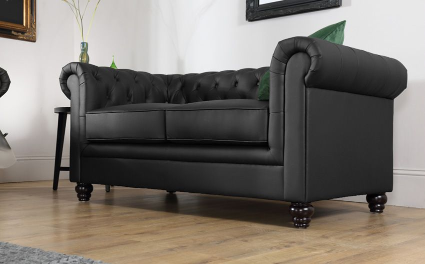 Hampton Black Leather Chesterfield Sofa - 2 Seater | We Love ...