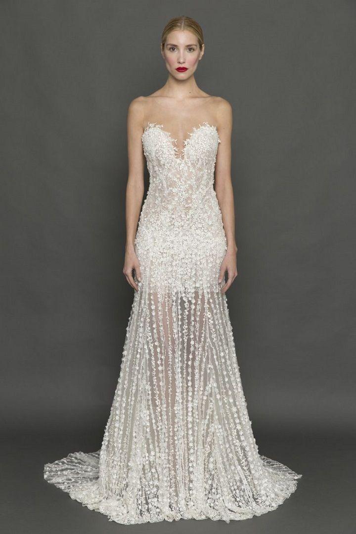 Francesca Miranda illusion neckline and skirt wedding dress | itakeyou.co.uk #weddingdress #weddingdresses #strapless #bride #bridalgown #weddinggown #weddinggowns