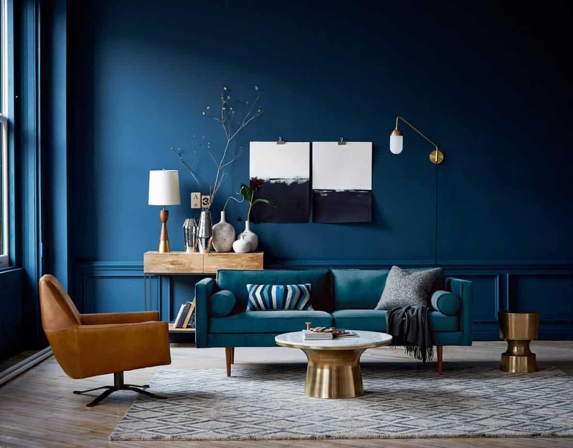 interior color trends 2021 navy blue living room design in ...