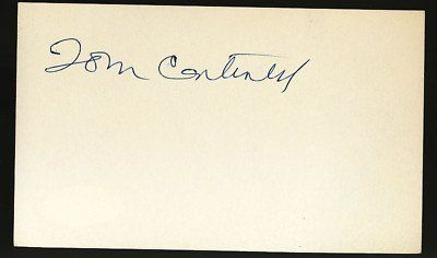 Tom Cantwell Senators 3x5 Index Card JSA COA Signed . $80.00. CINCINNATI REDS PITCHERTOM CANTWELLVintage Hand Signed 3x5 Index CardGREAT AUTHENTIC BASEBALL COLLECTIBLE!! .AUTOGRAPH AUTHENTICATED BY JAMES SPENCE AUTHENTICATION WITH NUMBERED JSA AUTHENTICATION STICKER ON ITEM AND A CERTIFICATE OF AUTHENTICITY.JSA COA: # 85363ITEM PICTURED IS ACTUAL ITEM BUYER WILL RECEIVE.