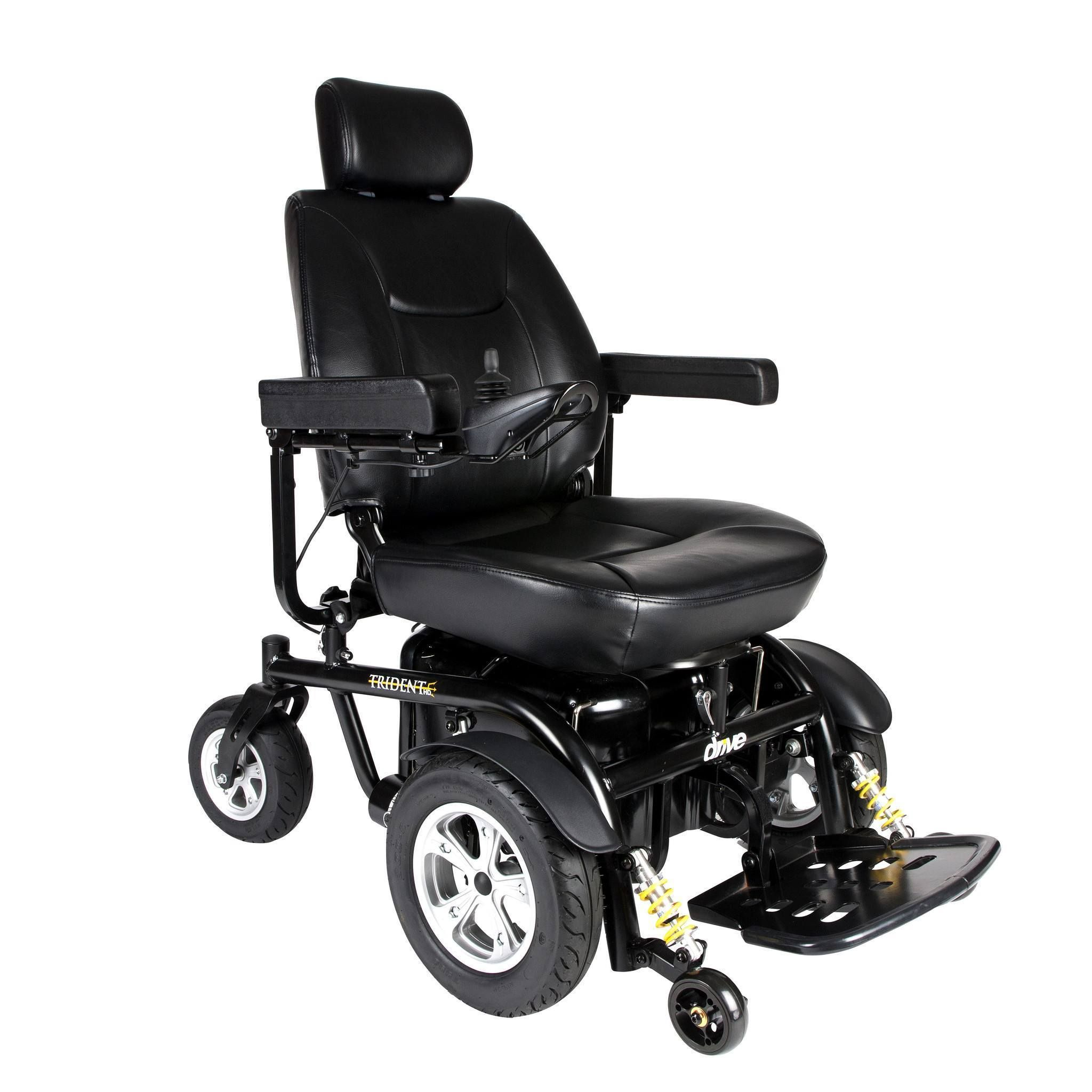 Trident Hd Heavy Duty Power Chair With 24 Seat The Trident Hd Front Wheel Drive Powerchair Offers Style Powered Wheelchair Power Mobility Electric Wheelchair