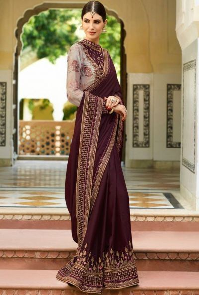 ddb981798f9d89 Buy Wine Color Barfi silk saree Indian wedding saree double blouse ...