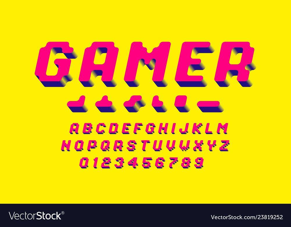 Gamer Font 3d Stylized Pixel Style Alphabet Vector Image Ad Stylized Pixel Gamer Font Ad Vector Free Pixel Art Icon Illustration