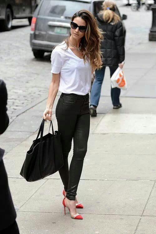 3dd072f340a Love the white shirt and leather pants look, on Adriana Lima ...