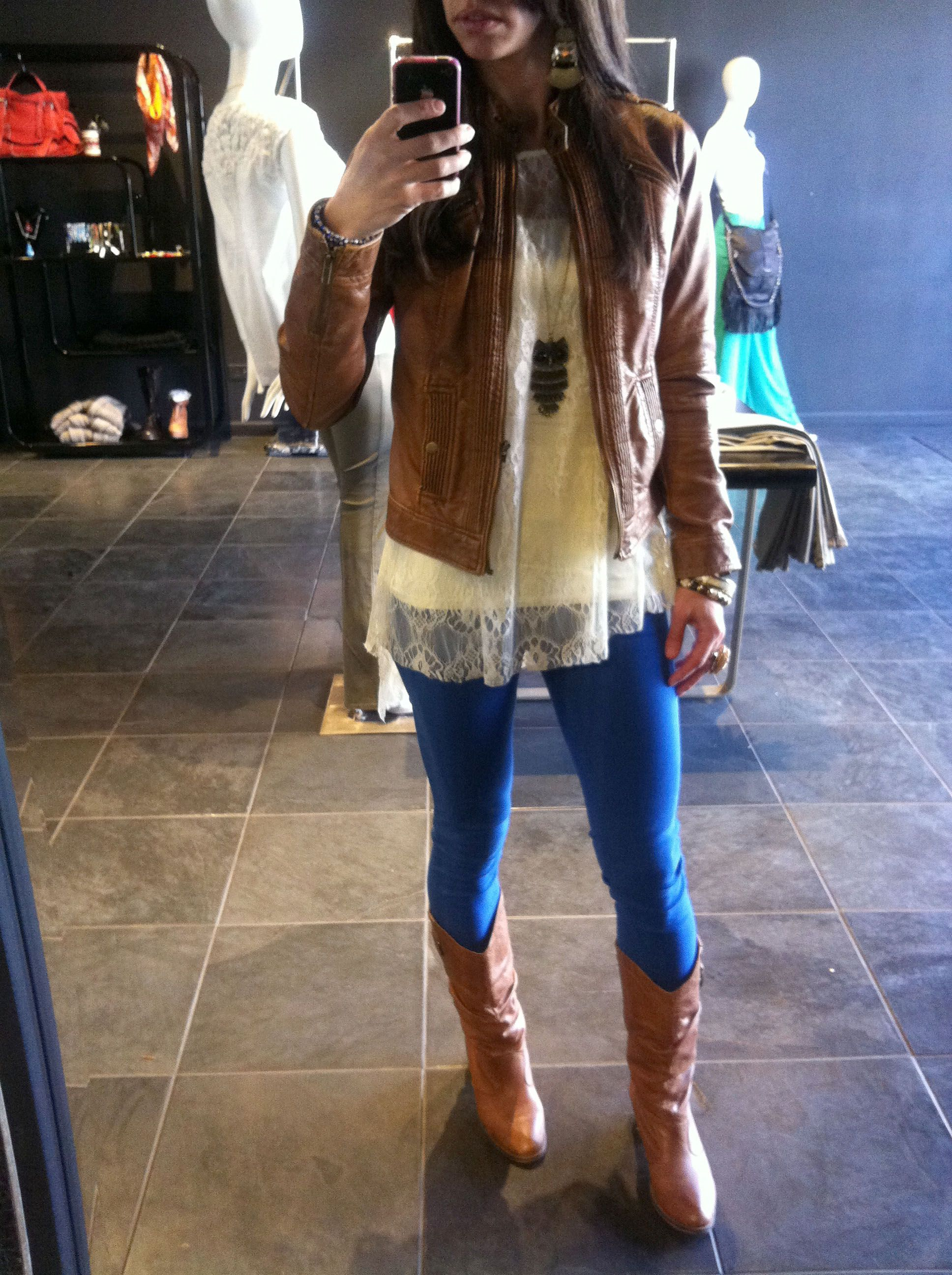 Loving my outfit today! jacket - Kiz Chicago; lace top - Marshalls ...