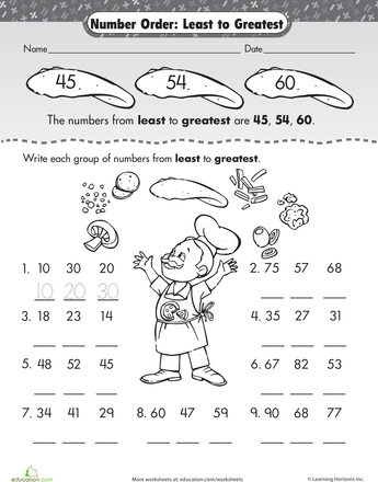 Number Order: Least to Greatest | Worksheets, Articles and Numbers