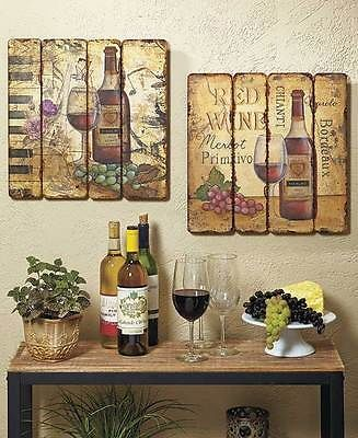 Wine Bottle Wall Art set of 2 printed pallet wall art hangings wine bottle vineyard