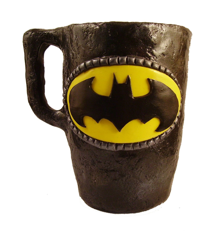 Batman Gifts Mug, Handmade With Polymer Clay Around A Hot