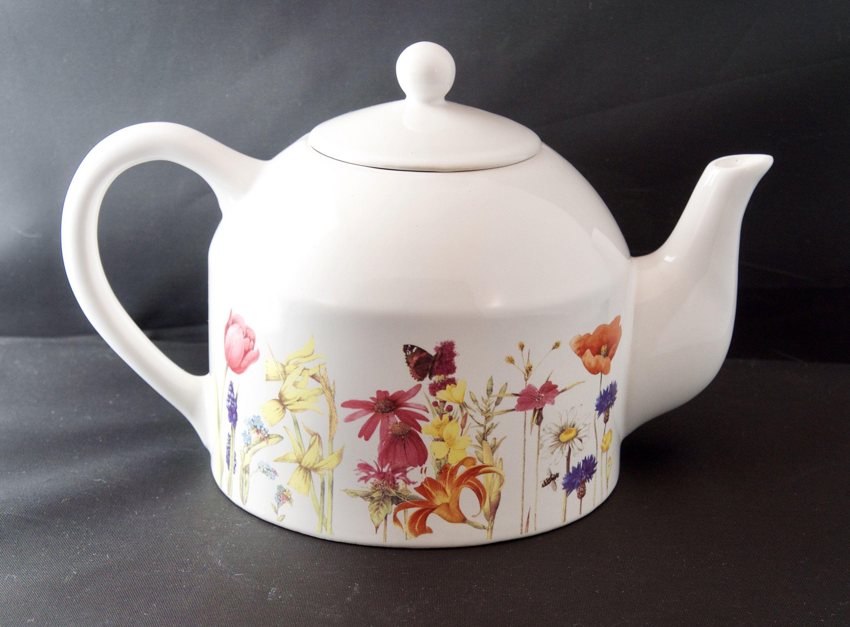 Wildflower Meadow Floral Teapot Maryjolein Bastin Hallmark White And Flower Teapot Country Kitchen Tea Lover Gift Tea Lovers Gift Tea Pots Tea Lover