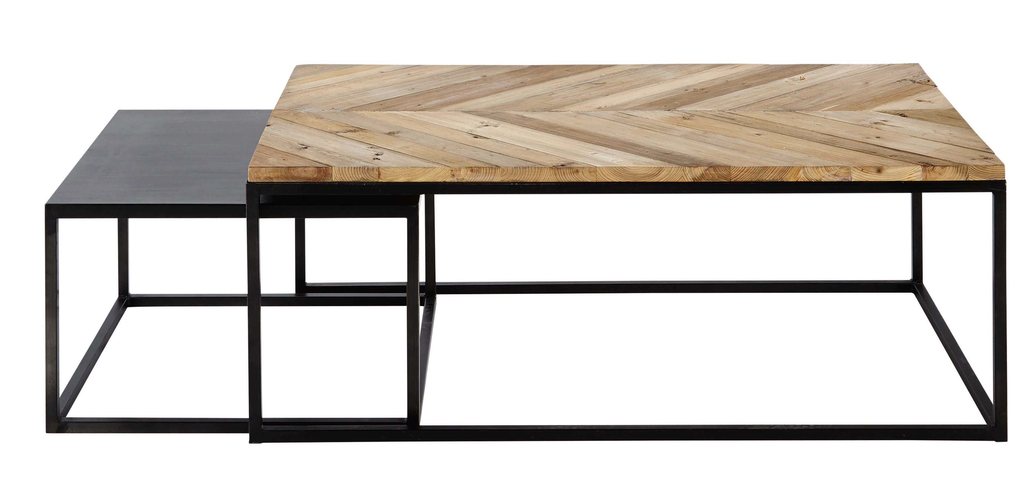 Metal And Recycled Wood Nested Tables In 2020 Coffee Table