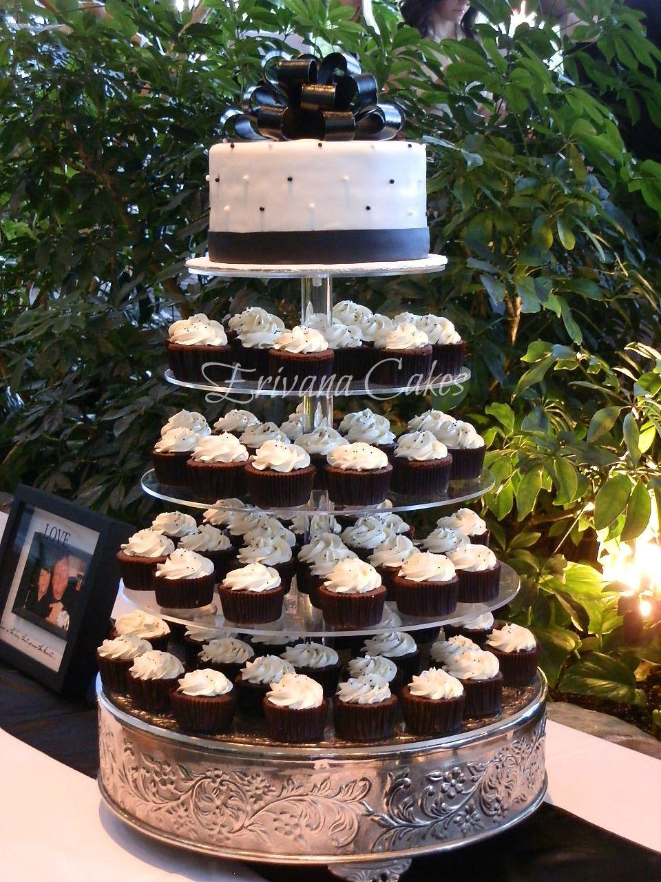 Black And White Wedding Cupcake Tower 3