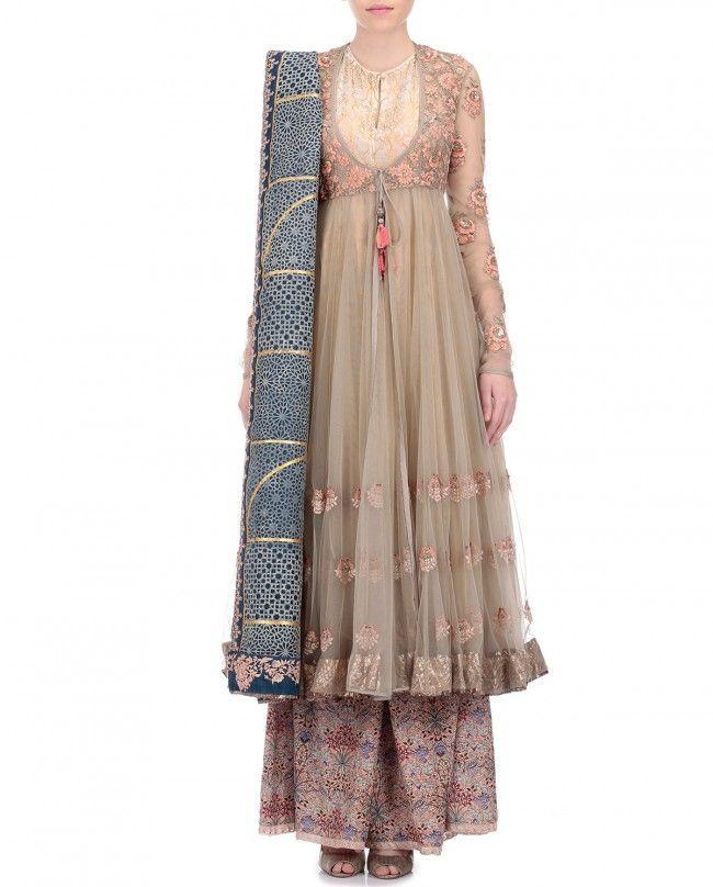Bajirao Mastani Ivory Bird Jaal Printed Anarkali | Dress ...