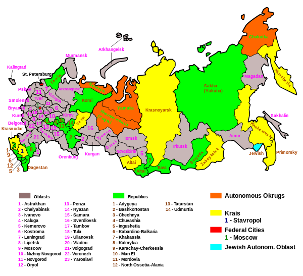 Map of the federal subjects of the Russian Federation | Maps ...