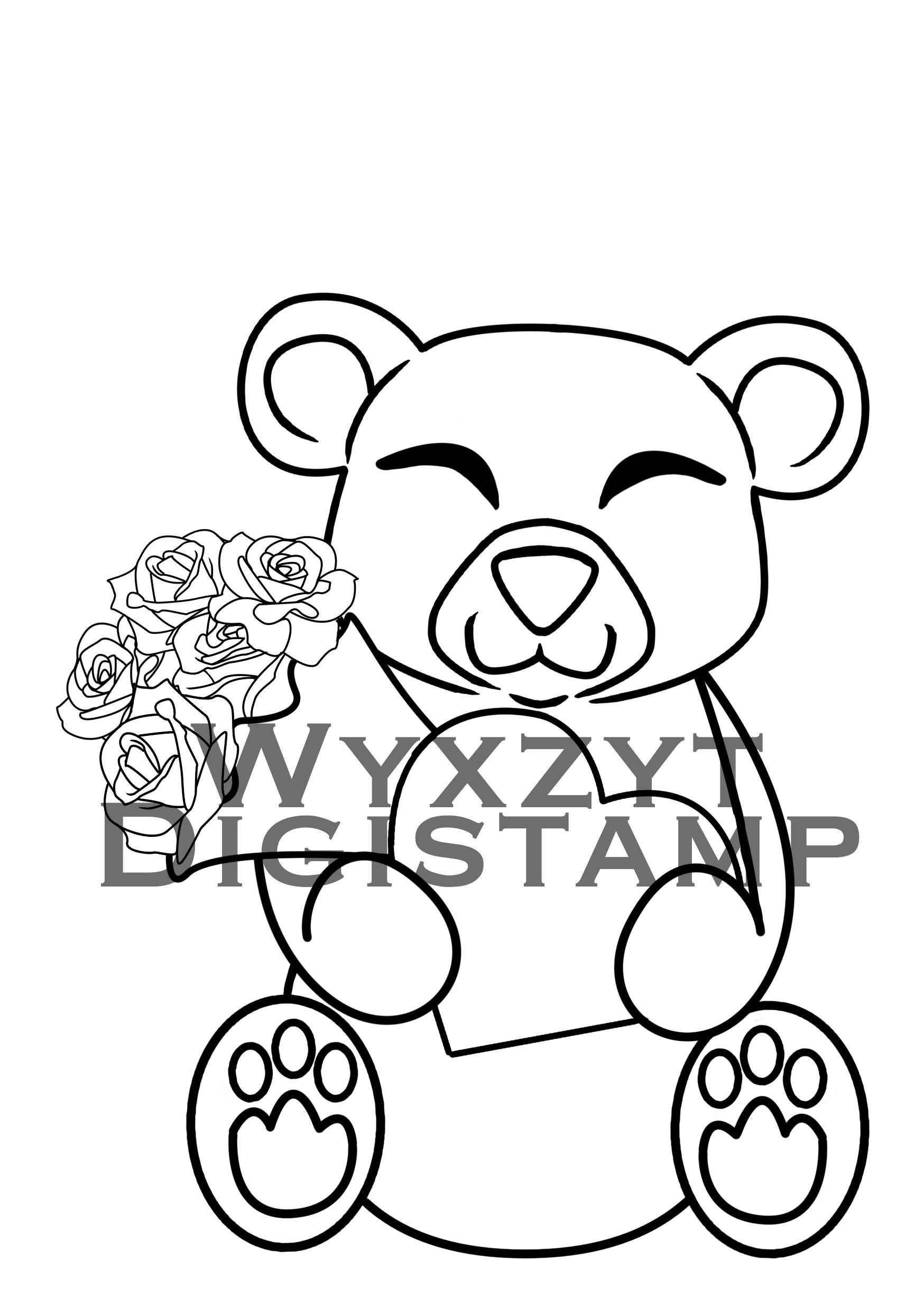 Cute Teddy Bear Digistamp Roses And Heart Instant Download My
