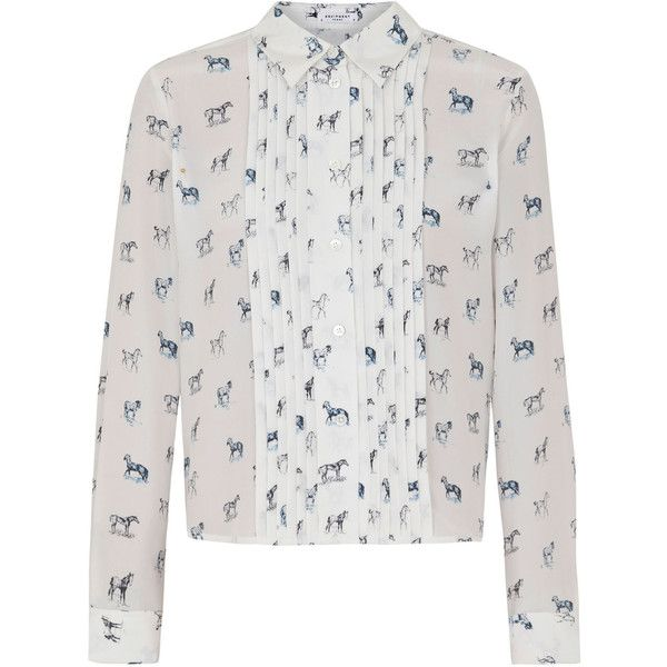 Equipment Aries Horse Print Silk Blouse found on Polyvore