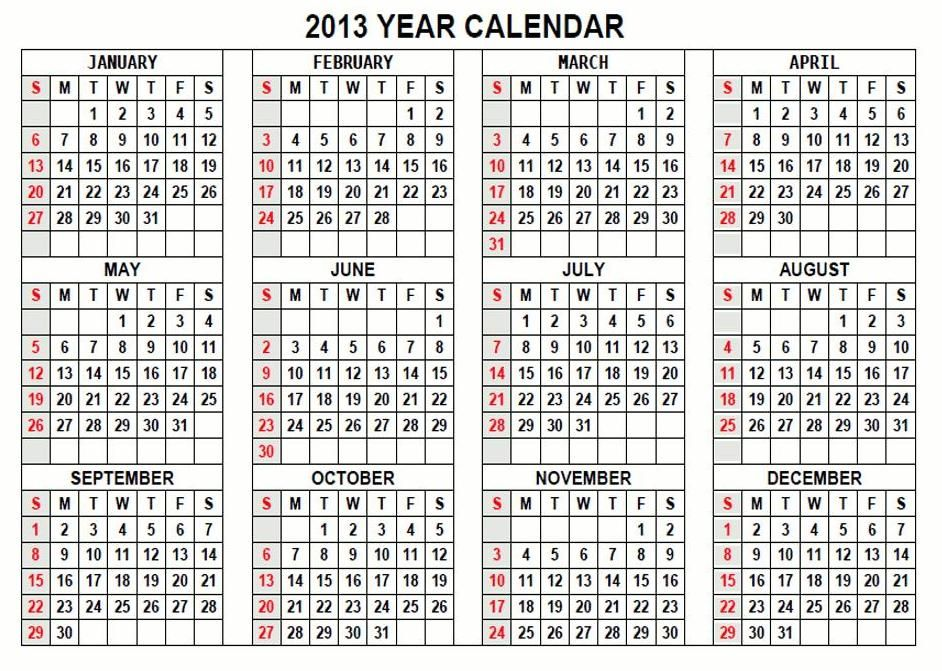 2013 Calendar 2013 Calendar Printable Templates PDF Download ...