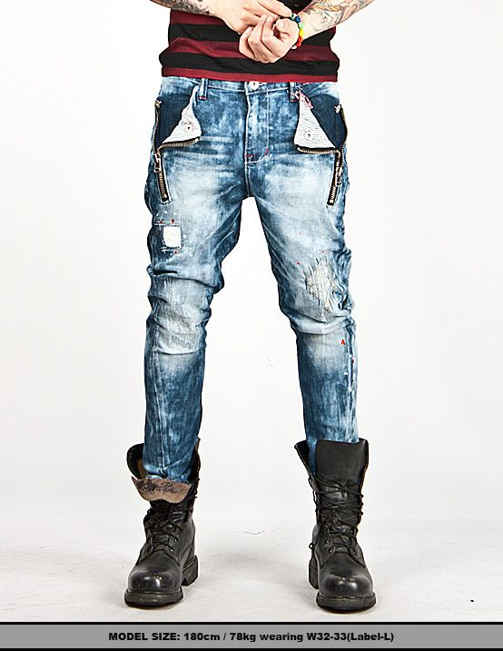 New Mens Fashion Mod Distressed Patchwork Accent Rinsed Baggy ...