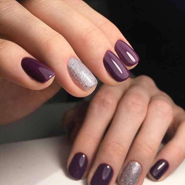 Simple Purple Nails With A Silver Glitter Accent Nail Gel Nail Colors Gel Nail Art Designs Trendy Nails