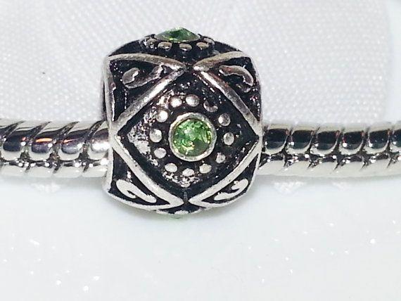 Spring Green Rhinestone European Beads  sku215 by HazyDaizySupply, $4.75
