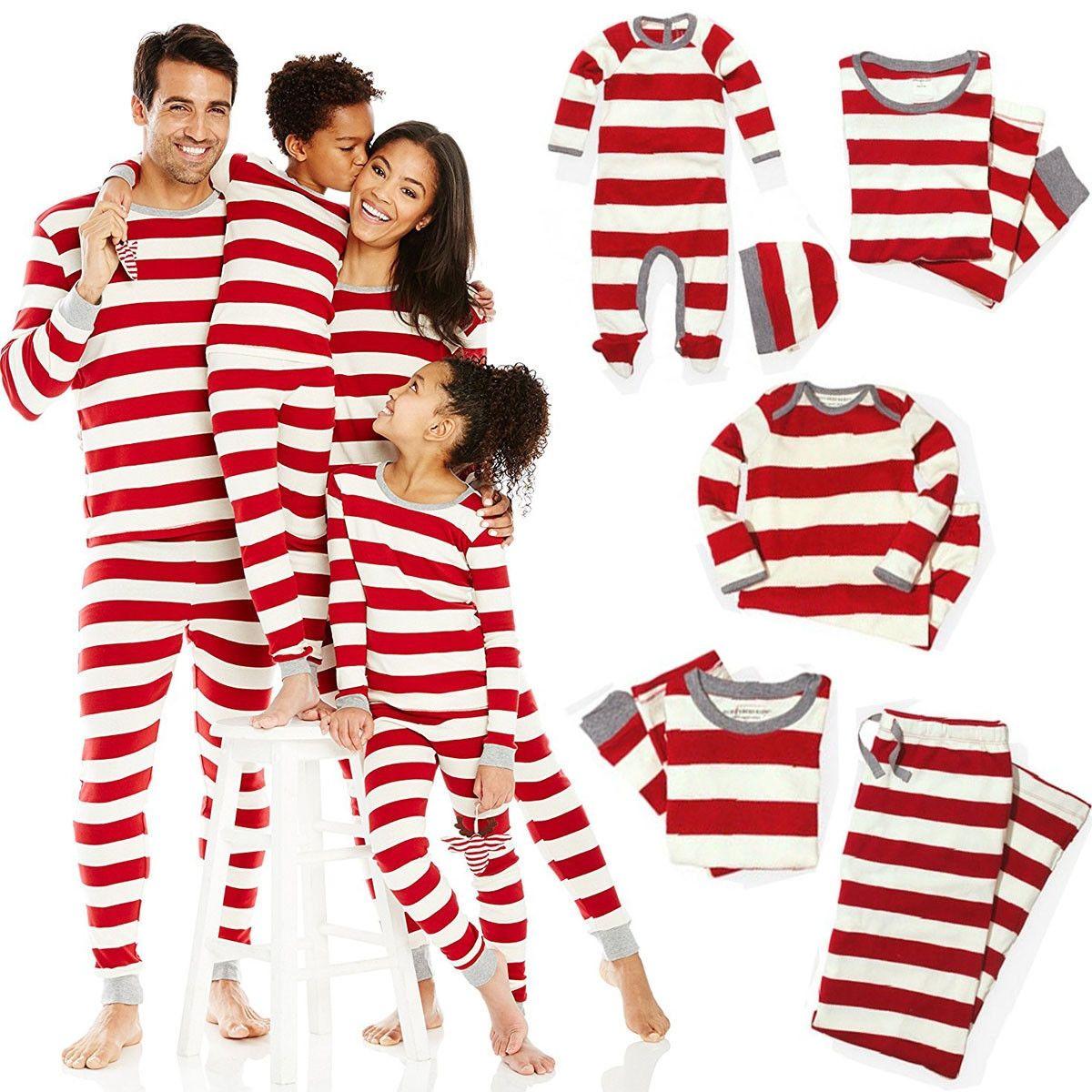 ebeff0b8ee Xmas Striped Family Matching Outfits Set Christmas Family Pajamas Set Adult  Kid Sleepwear Nightwear Pjs Photgraphy