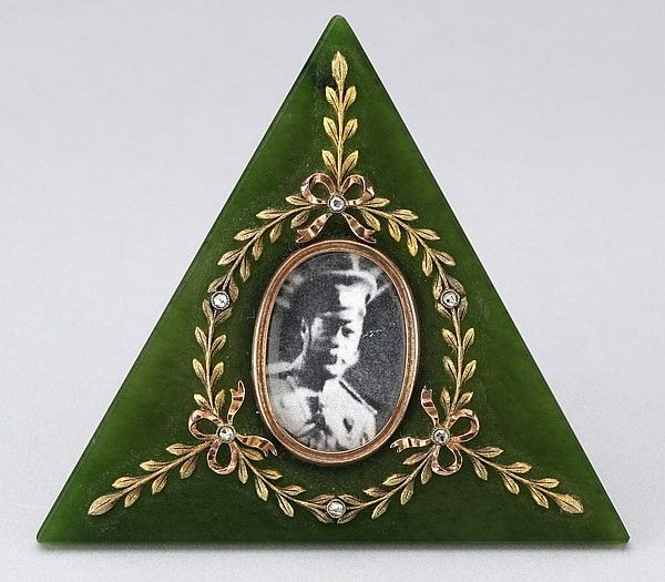 Late 19th century Russian gold mounted gem set miniature frame by Faberge' work master August Hollming, St. Petersburg, Russia, circa 1890.