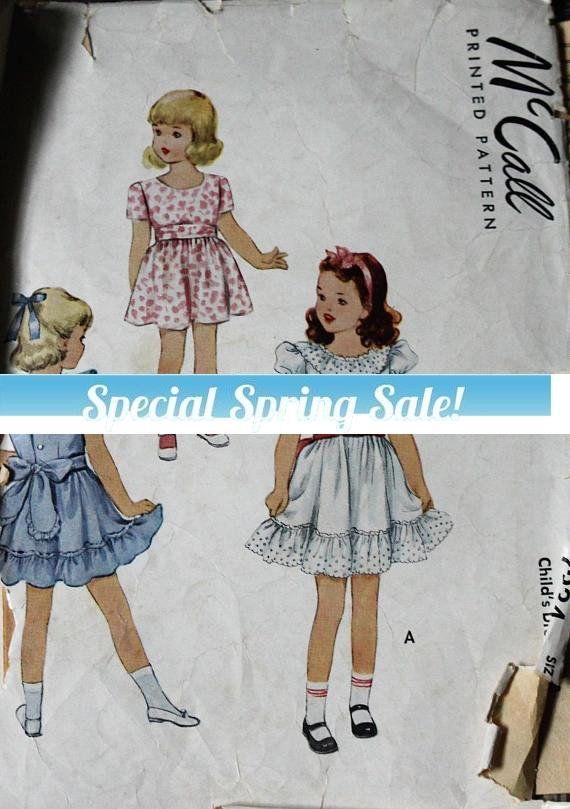Lots of ruffles!! Vintage McCall sewing pattern #supplies @EtsyMktgTool #vintagepattern #vintagemccall #mccall7234 #1948pattern #1948mccall