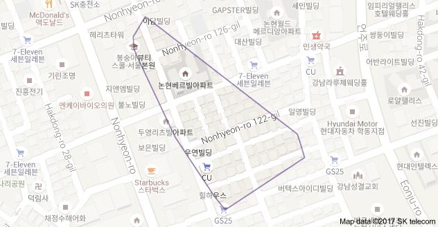 Map of Hakdongro 30gil Nonhyeon 2idong Gangnamgu Seoul