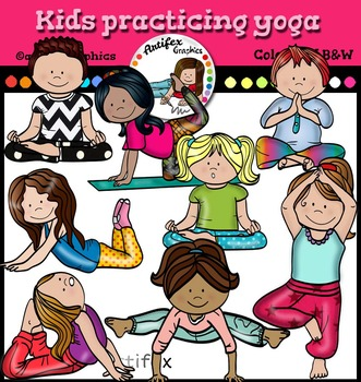 kids practicing yoga clip art color and bw  clip art